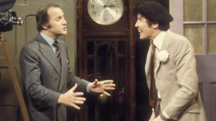 David Jacobs and Michael Crawford in Some Mothers Do 'Ave Em in 1975