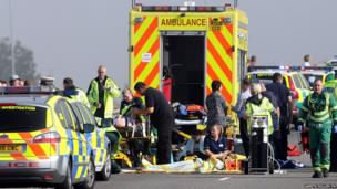 A general view of the scene on the London bound carriageway of the Sheppey Bridge Crossing near Sheerness in Kent.
