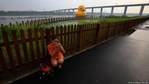 Inflatable rubber duck in Beijing
