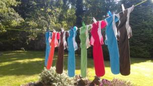 Washing on a clothes line