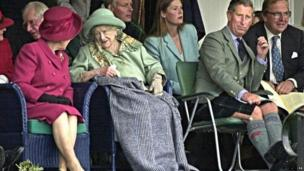 The Queen Mother and Prince Charles at the Braemar Gathering in 2000