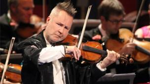 Violinist Nigel Kennedy during the Last Night of the Proms at the Royal Albert Hall, London