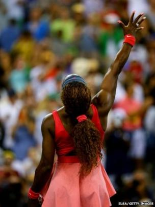 Serena Williams celebrates victory