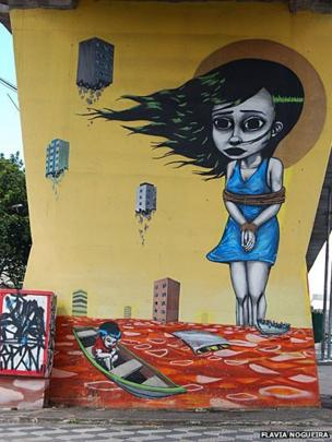 Graffiti by Tinho in Santana, Sao Paulo