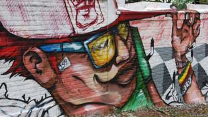 A wall painted by Joks, Vila Nova Cachoeirinha cemetery, Sao Paulo