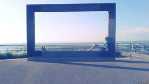 A frame placed along the Promenade of Morecambe