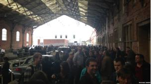 Large number of people standing around outside Bristol Temple Meads train station. Photo: Michael Baker