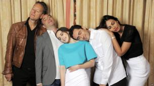Writer-director Richard Shepard, second left, poses with cast members of his film Dom Hemingway, from left, Richard E Grant, Emilia Clarke, Demian Bichir and Madalina Diana Ghenea