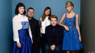 Actress Alexandra Roach, singer Paul Potts, actress Valeria Bilello, actor James Corden and singer Taylor Swift, promoting One Chance