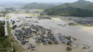 Aerial picture of a large area in western Japan which is flooded