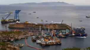 The wreck of Italy's Costa Concordia cruise ship