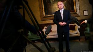 British Foreign Secretary William Hague addresses the media in the Foreign and Commonwealth Office