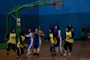 Afghan women basketball players