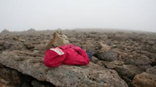 David Corner's sister lying down on Ben Nevis