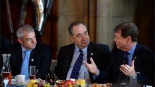 European Captain Paul McGinley (L) and USA Captain Tom Watson (R) share breakfast with Alex Salmond in the Great Hall at Edinburgh Castle to mark the one-year countdown to the 2014 Ryder Cup