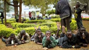 Street children watch media in Westgate