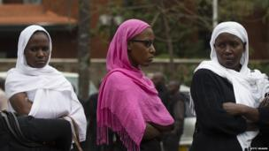 Mourners attend a funeral procession for Muslim woman Selima Merali, 41, and her daughter Nuriana Merali, 15, who were killed in the recent attack by gunmen at the Westgate Shopping Centre, on 25 September, 2013 in Nairobi, Kenya.