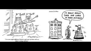 Dalek cartoons by David Haldane and Nick Newman
