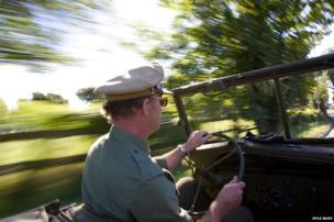 Man driving Jeep