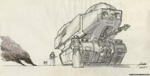Joe Johnston: Imperial tank. Concept Art for The Empire Strikes Back (Pen, ink and marker on vellum)