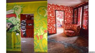 Two rooms painted by street artists in tower block art project Tour 13 in Paris