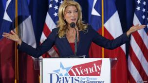 Texas State Senator Wendy Davis speaks at the podium as she announces her intentions to run for Texas Governor in Haltom City on 3 October 2013.