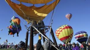 Balloons in the air at the 42nd Albuquerque International Balloon Fiesta.