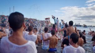 People take part in the pilgrimage of the Virgin of Guadalupe in San Sebastien de la Gomera