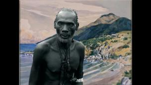 An artwork by Sammy Baloji , entitled Kalamata, chief of the Luba against watercolour by Dardenne from the series: Congo Far West: Retracing Charles Lemaire's expedition, 2011, Photography, paper satin matte Hahnemuhle PhotoRag 308 gr/m3, 100cm x 128cm