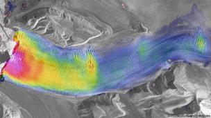This is Kronebreen, the fastest-flowing glacier on Arctic Spitsbergen, with satellite radar images taken 11 days apart. Adrian Luckman (Geography)