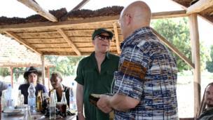 Salif Keita gives Brian Eno a present. Photo taken by Manuel Toledo, BBC Africa