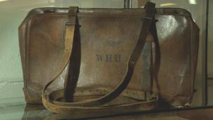 The leather valise case recovered from the drowned body of the musician
