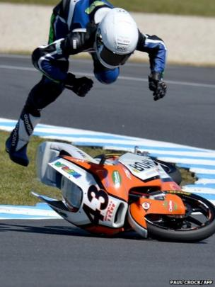 Luca Gruenwald flies off his Kalex KTM during the first practice for the Australian Moto3 Grand Prix