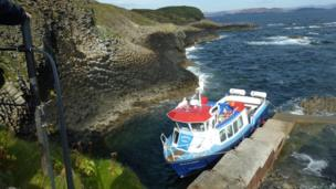 Boat by the Isle of Staffa