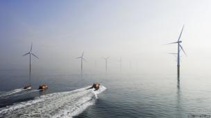 RNLI boats by a windfarm