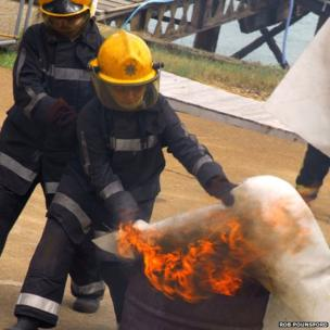 Fire blankets are used to put out a fire