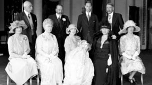 Queen Elizabeth II with her family for her christening