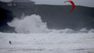 Kite surfer at Newquay