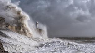 Matthew Jones from Tredegar took this photo of the lighthouse at Porthcawl while waiting for the severe storm St Jude to reach the UK.