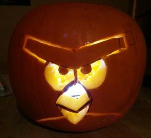 carved angry bird pumpkin