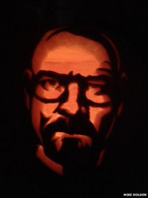 A pumpkin featuring the face of Breaking Bad's Walter White created by Mike Holden