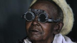 A woman having her eyes tested in Kenya - Tuesday 29 October 2013