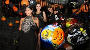 Partygoers at Havana nightclub Sangri-la decorated for Halloween (October 2013)