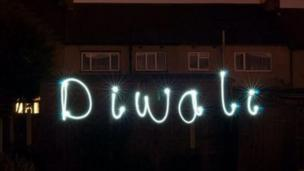 Diwali spelled out in lights