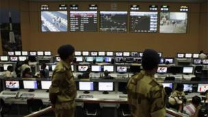 Paramilitary soldiers stand guard at the control station of the Satish Dhawan Space Centre at Sriharikota, in the southern Indian state of Andhra Pradesh