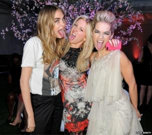 Fashion model Cara Delevingne with singers Ellie Goulding and Rita Ora at the Glamour Women of the Year Awards