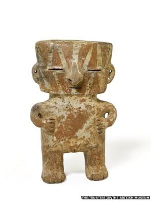 Figurine rattle, late Quimbaya, ceramic, AD 700–1600
