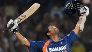 Sachin Tendulkar after scoring a world record-breaking double century (200 runs) during the second One Day International (ODI) cricket match against South Africa in India on 24 February 2010