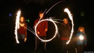 Children using sparklers