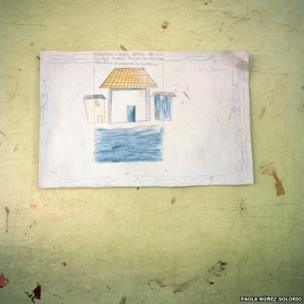 Drawing outside of elementary school classroom in Oaxaca, Mexico